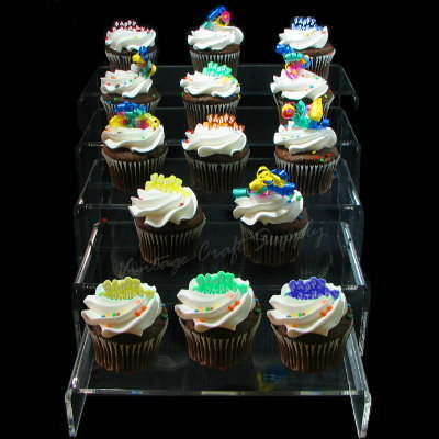 Clear Acrylic Cupcake Display Riser Set of 5