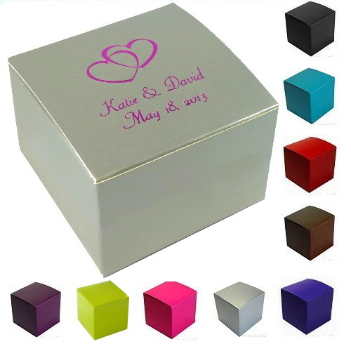Black Treat Favor Boxes : Personalized wedding party favor candy treat gift box