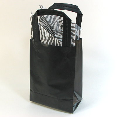 "Frosted Shopper Bag - 5 x 7"" - BLACK"