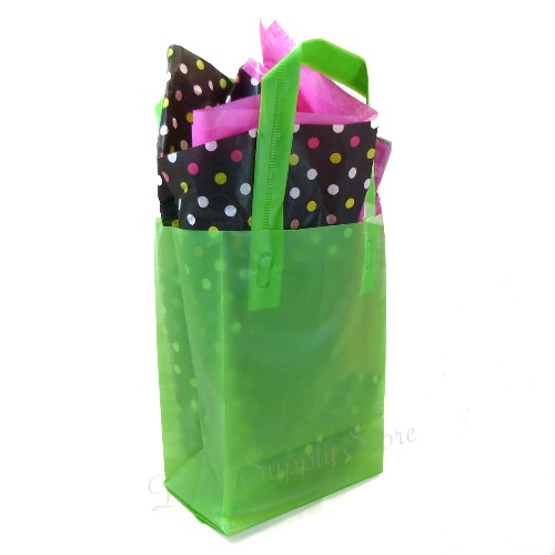 Frosted plastic favor treat gift bags pc lime