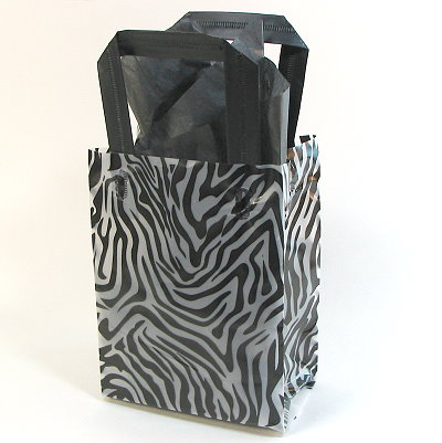Frosted Shopper Bag - Zebra Print 5 x 7""